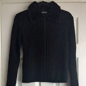 Zippy black sweater with faux fur collar - cool!